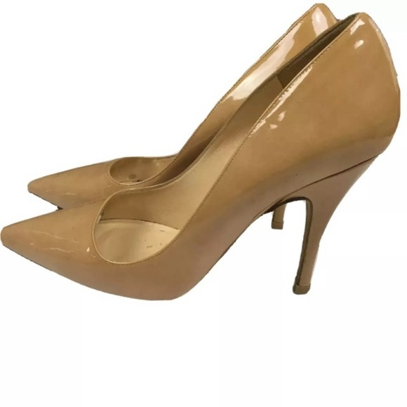 Kate Spade Nude Patent Leather Pointed Pump Heel